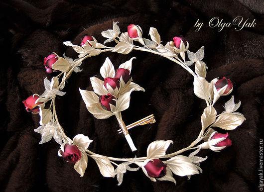 Свадебные украшения ручной работы. Ярмарка Мастеров - ручная работа. Купить Цветы из ткани. Цветы из шелка. Венок на голову. Handmade.