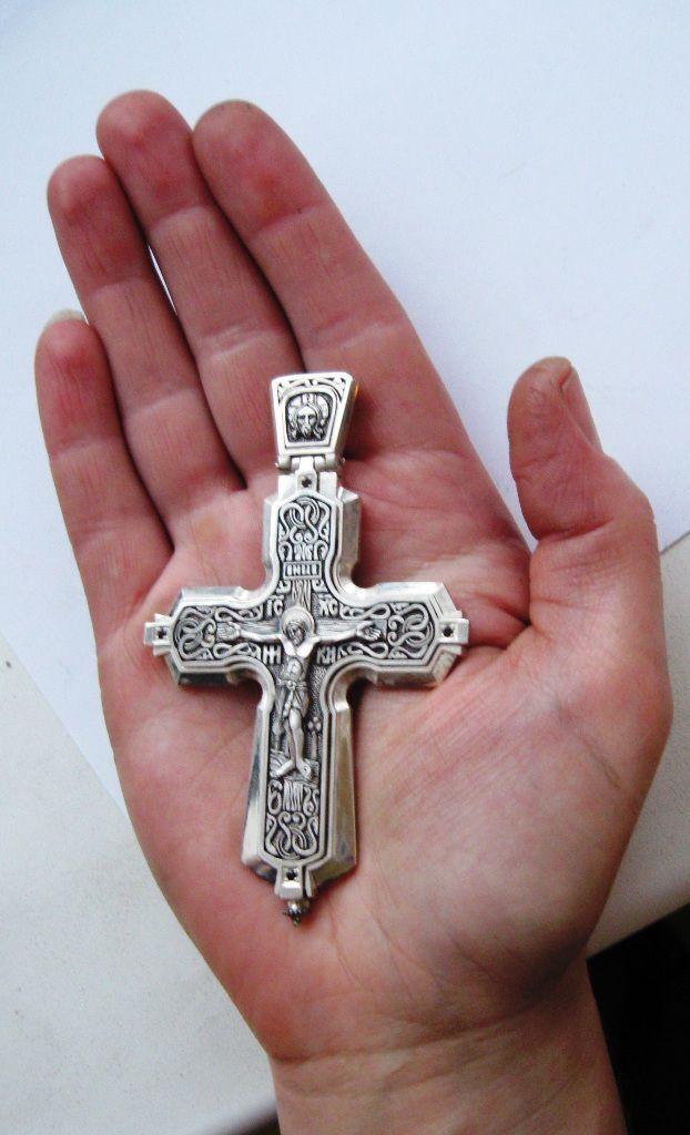 Персональные подарки ручной работы. Ярмарка Мастеров - ручная работа. Купить Крест-мощевик  для священника (большой )из серебра. Handmade.