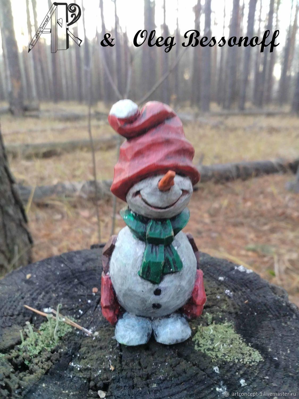 Новогодняя елочная игрушка из дерева резная фигурка миниатюра Снеговик, Снеговики, Рязань,  Фото №1