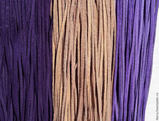 Для украшений ручной работы. Ярмарка Мастеров - ручная работа. Купить Шнурки кожаные плоские, - фиолетовый - телесный - аметистовый. Handmade.