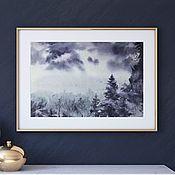 Картины и панно handmade. Livemaster - original item Foggy forest. Watercolor (dark purple, purple, dark blue). Handmade.