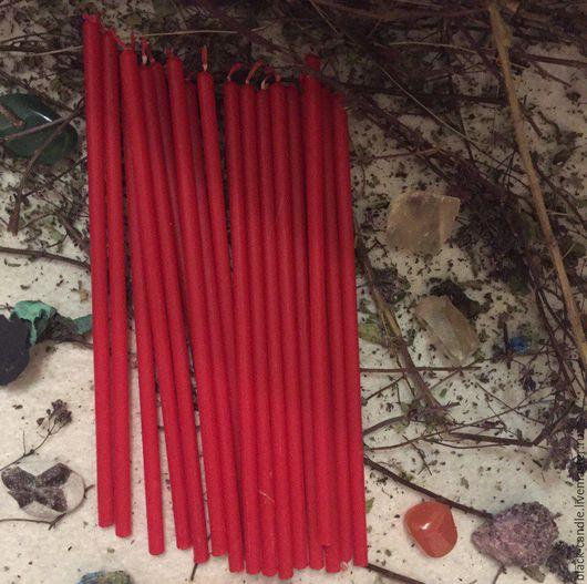 Эзотерические аксессуары ручной работы. Ярмарка Мастеров - ручная работа. Купить Тонкие восковые свечи красные. Handmade. Ярко-красный