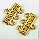Коннекторы для украшений Заклепки Один Три  из цинкового сплава с покрытием имитация 24-х каратное золото для перехода с одной нити бус на три