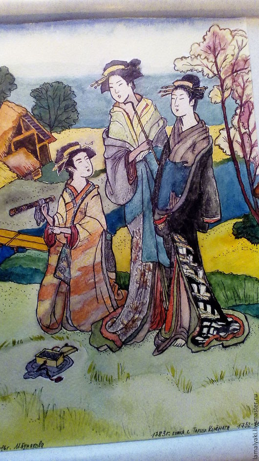 """Люди, ручной работы. Ярмарка Мастеров - ручная работа. Купить Картина акварелью""""Модные красавицы древней Японии"""". Handmade. Комбинированный"""