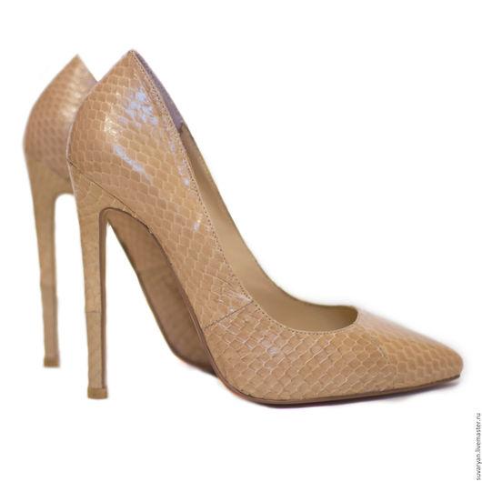 Обувь ручной работы. Ярмарка Мастеров - ручная работа. Купить Туфли из натуральной кожи питона ''Нюд''.. Handmade. Бежевый