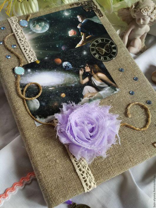 Блокноты ручной работы. Ярмарка Мастеров - ручная работа. Купить Блокнот Вселенная. Handmade. Золотой, вселенная, мягкий, мешковина