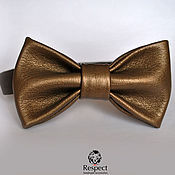Аксессуары handmade. Livemaster - original item Tie Van Halen / bronze leather butterfly bow tie. Handmade.