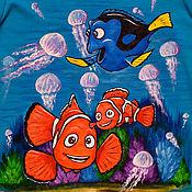 """Одежда ручной работы. Ярмарка Мастеров - ручная работа Футболка детская """"Осторожно медузы!"""". Handmade."""
