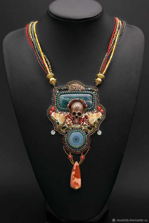 Pendant skull with ophite agate jasper Tibetian Santa Muerte, Necklace, Moscow,  Фото №1