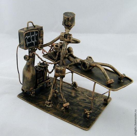 Миниатюрные модели ручной работы. Ярмарка Мастеров - ручная работа. Купить Анестезиолог. Handmade. Скульптурная миниатюра, медик из гаек, припой
