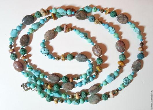 Колье, бусы ручной работы. Ярмарка Мастеров - ручная работа. Купить длинные бусы из натуральных камней. Handmade. Бирюзовый