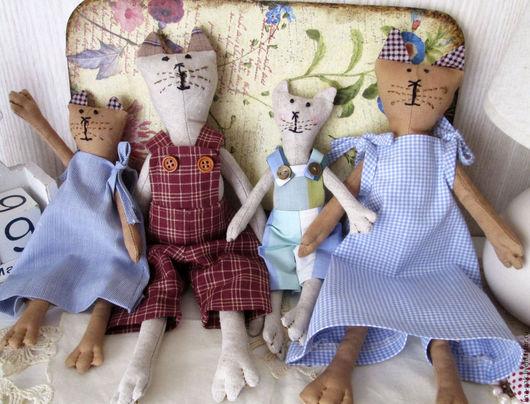Игрушки животные, ручной работы. Ярмарка Мастеров - ручная работа. Купить коты-котики. Handmade. Бежевый, сувениры и подарки, лён