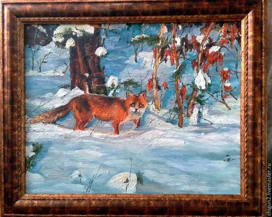 Животные ручной работы. Ярмарка Мастеров - ручная работа. Купить Зимний лес, рыжий Лис. Handmade. Картина маслом