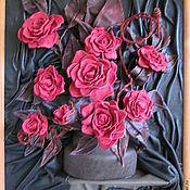 """Картины и панно ручной работы. Ярмарка Мастеров - ручная работа Натуральная кожа. Картина """"Красное на черном"""". Handmade."""
