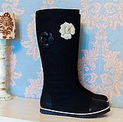 """Обувь ручной работы. Ярмарка Мастеров - ручная работа Валенки """"Цветы"""" черные. Handmade."""