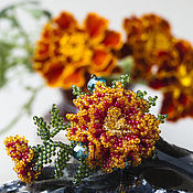 """Украшения ручной работы. Ярмарка Мастеров - ручная работа Мини-брошь """"Цветок бархатца"""". Handmade."""