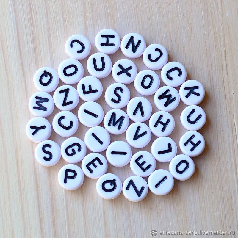 """Бусины-буквы """"Английский алфавит"""" 7 мм (белые, черные), Бусины, Москва,  Фото №1"""