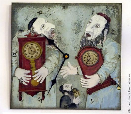 Часы для дома ручной работы. Ярмарка Мастеров - ручная работа. Купить Часы настенные стеклянные на тему В.Любарова Часовщики. Handmade.