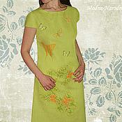 Одежда ручной работы. Ярмарка Мастеров - ручная работа платье с ручной вышивкой Бабочки - 2. Handmade.