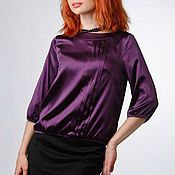 """Одежда ручной работы. Ярмарка Мастеров - ручная работа Блузка из шелка """"Темный фиолет"""". Handmade."""
