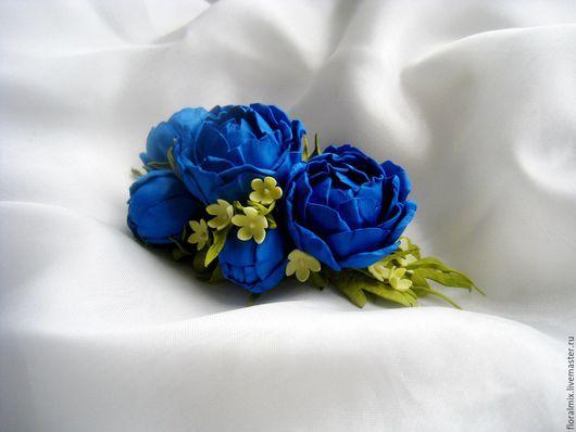 """Заколки ручной работы. Ярмарка Мастеров - ручная работа. Купить """"Вега"""" гребень. Handmade. Тёмно-синий, синие цветы"""