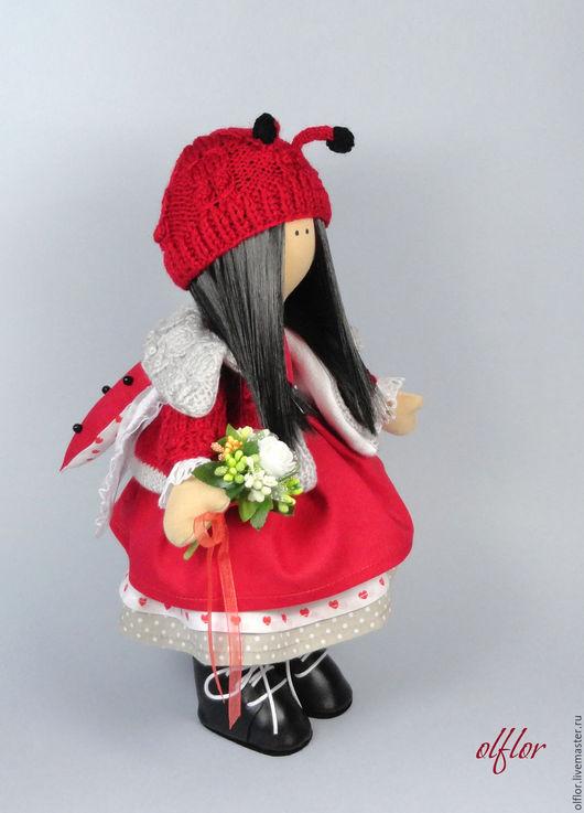 Куклы тыквоголовки ручной работы. Ярмарка Мастеров - ручная работа. Купить Интерьерная кукла. Handmade. Ярко-красный, божья коровка