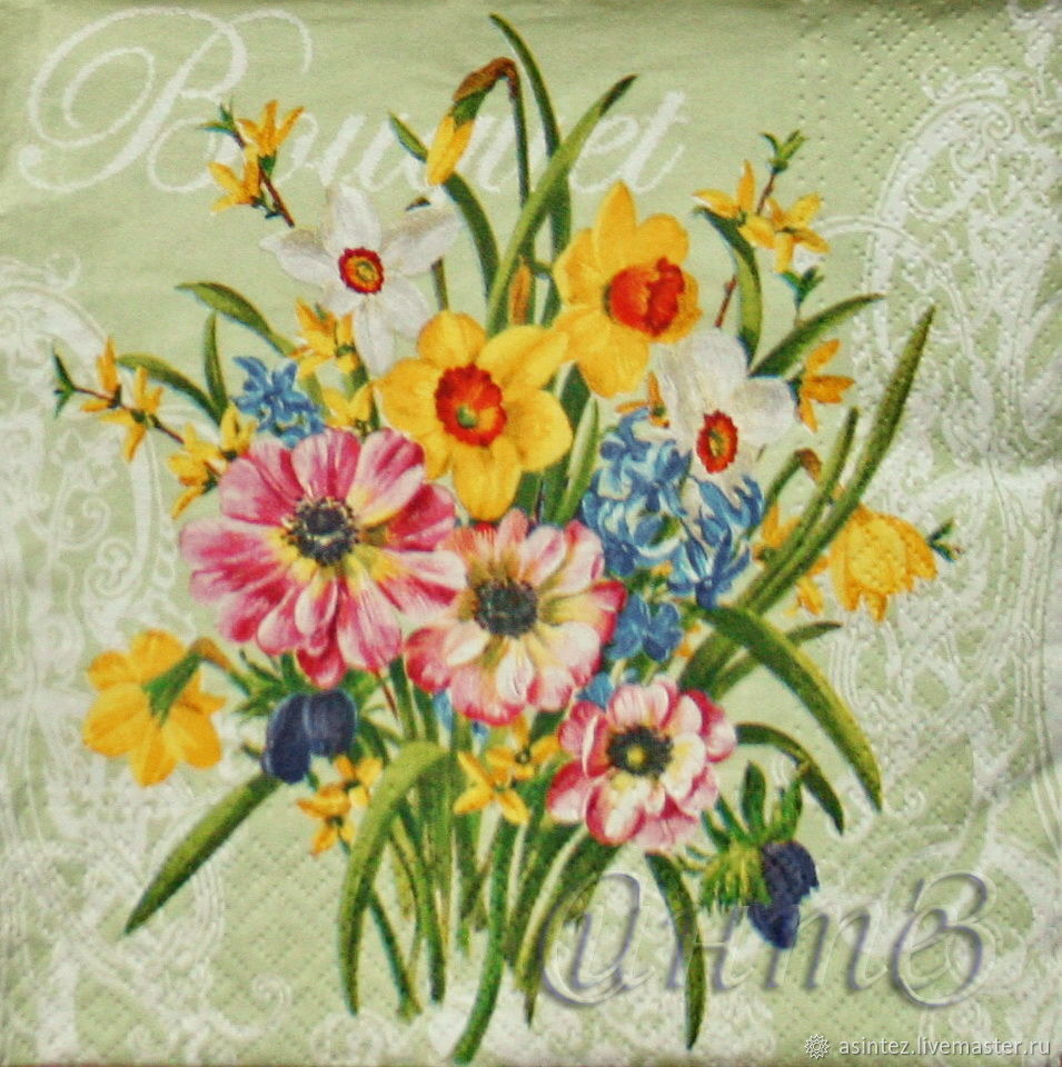 Napkin for decoupage floral bouquet print, Napkins for decoupage, Moscow,  Фото №1