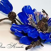 Украшения handmade. Livemaster - original item Brooch made of leather poppy blue evening Flower ultramarine. Handmade.