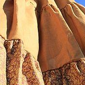 Одежда ручной работы. Ярмарка Мастеров - ручная работа Легенда о золотых крыльях.Юбка в пол,ярусная,лен,хлопок. Handmade.