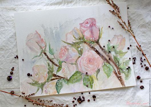 Репродукции ручной работы. Ярмарка Мастеров - ручная работа. Купить Нежность роз. Handmade. Акварель, уют, художник, картина в подарок