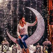Оформление мероприятий ручной работы. Ярмарка Мастеров - ручная работа Новогодняя Фотозона Месяц. Handmade.