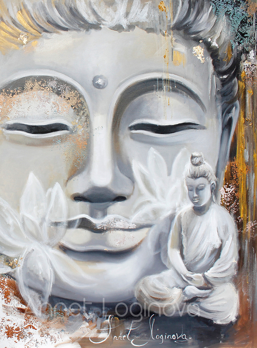 Картины цветов ручной работы. Ярмарка Мастеров - ручная работа. Купить Silver Buddha. Handmade. Картина на холсте, серый цвет