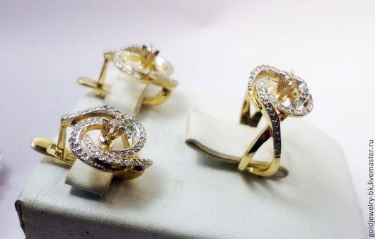 Комплекты украшений ручной работы. Ярмарка Мастеров - ручная работа. Купить Комплект Золотое бриллиантовое кольцо серьги 585 пробы №2. Handmade.