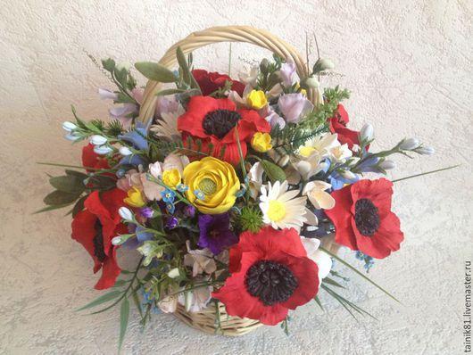 Цветы ручной работы. Ярмарка Мастеров - ручная работа. Купить Корзиночка для бабушки. Handmade. Разноцветный, колокольчики, цветы из полимерной глины