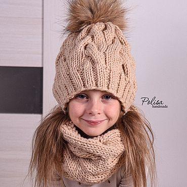 Товары для малышей ручной работы. Ярмарка Мастеров - ручная работа Зимняя шапка с помпоном и снуд. Handmade.
