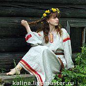 Русский стиль ручной работы. Ярмарка Мастеров - ручная работа рубаха женская льняная. Handmade.