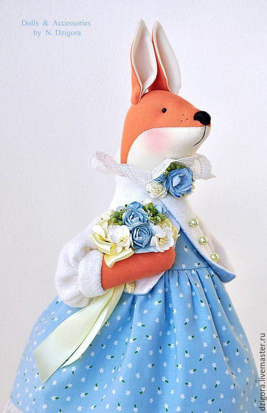 Игрушки животные, ручной работы. Ярмарка Мастеров - ручная работа. Купить Душечка. Лиса, лисичка, игрушка лиса в голубом. Handmade.