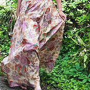 Одежда ручной работы. Ярмарка Мастеров - ручная работа Шелковая юбка в пол, эксклюзив Пионы. Handmade.
