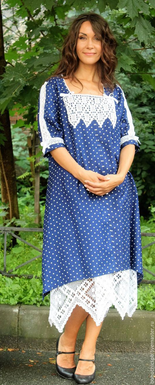 """Платья ручной работы. Ярмарка Мастеров - ручная работа. Купить Бохо платье """"Из бабушкиного сундука"""". Handmade. Тёмно-синий"""