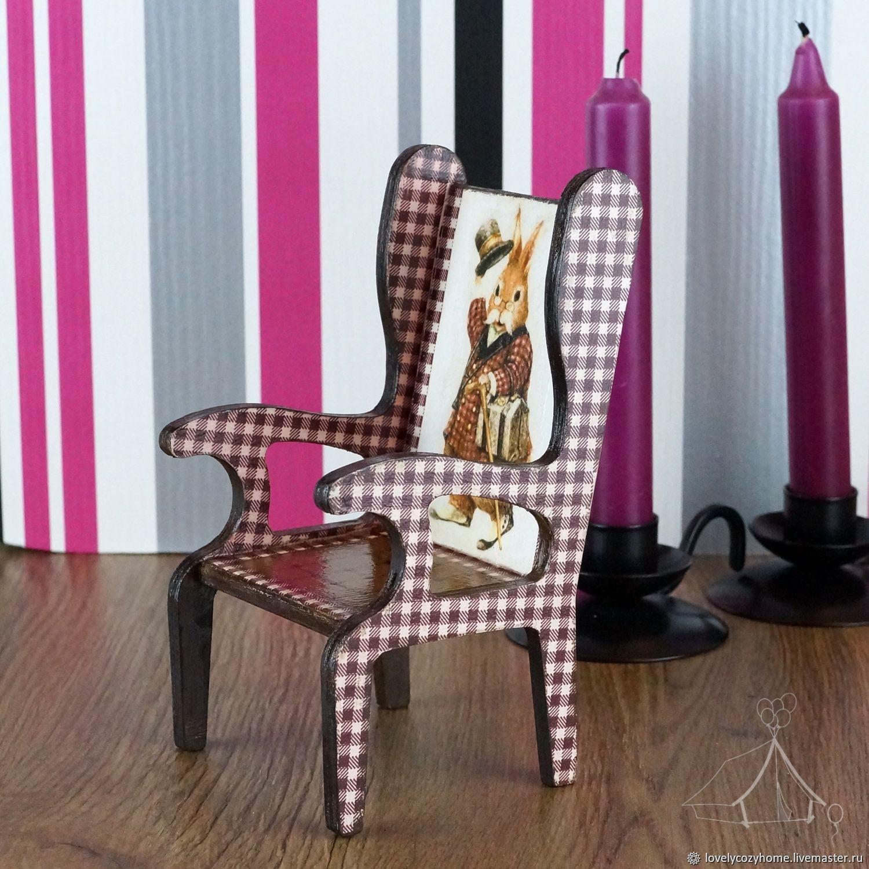 Кукольный стул Ученый Заяц Интерьерное украшение в английском стиле, Мебель для кукол, Москва,  Фото №1