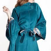Одежда ручной работы. Ярмарка Мастеров - ручная работа Пальто пончо  из шерсти с кашемиром на шелковой подкладке. Handmade.