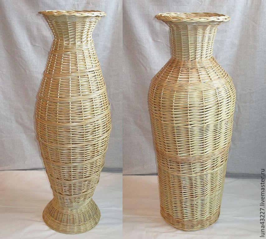 Купить Ваза напольная - ваза, напольная ваза, для интерьера, Плетение из лозы, изделия из лозы, плетение