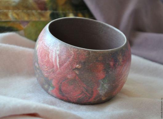 Браслеты ручной работы. Ярмарка Мастеров - ручная работа. Купить деревянный браслет Шебби розы2, декупаж. Handmade. Розовый, винтаж