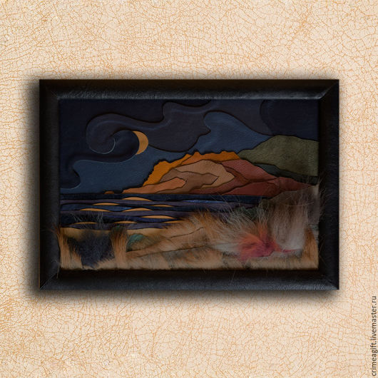 Картина из кожи  `Ночной Коктебель`.