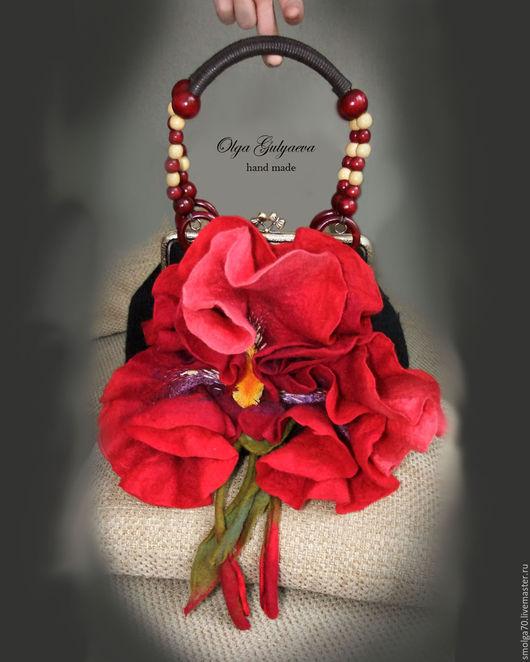 """Женские сумки ручной работы. Ярмарка Мастеров - ручная работа. Купить сумка """"Ирис"""" бордо. Handmade. Бордовый, сумка-цветок"""