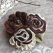 handmade. Livemaster - original item The brooch of the Coffee roses. Handmade.
