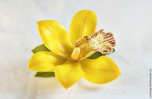 Заколки ручной работы. Ярмарка Мастеров - ручная работа. Купить Цветы из полимерной глины. Зажим для волос с желтой орхидеей.. Handmade.