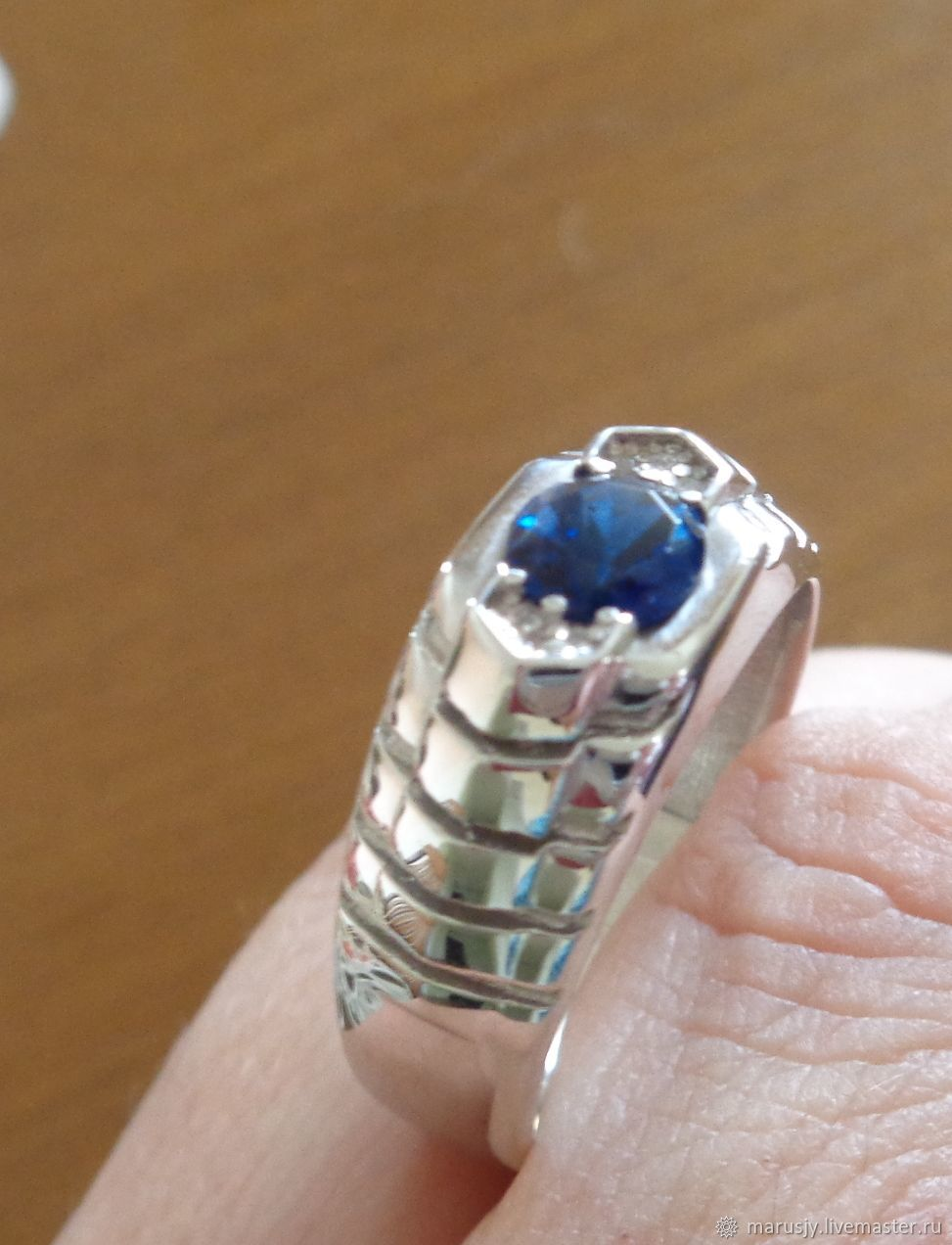 Men's ring made of 925 silver with natural kyanite, Ring, Sergiev Posad,  Фото №1