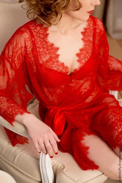 `Шикарный красный!` - красное кимоно из кружева шантильи. Эксклюзивное белье от Mila Manina Людмилы Маниной, новая коллекция, стиль Luxury.