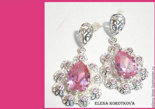 розовые серьги   серьги серебро    серебряные серьги   серьги с камнями  серьги с топазом    нежные серьги   серьги в подарок   купить серьги  серьги недорого  стильные украшения  украшение серьги